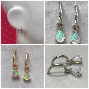 Sterling 1/2 Hoop w/ Fire Opal Teardrop Charm, NWT